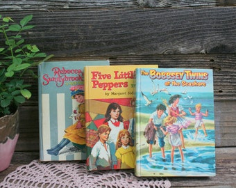 Set of Three Vintage 1960's Hardcover Children's Books / Five Little Peppers / Rebecca Sunnybrook Farm / The Bobbsey Twins at the Seashore