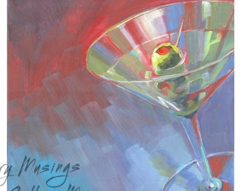 Martini Painting 12x12 inches on Canvas, Bar or Nightclub Art