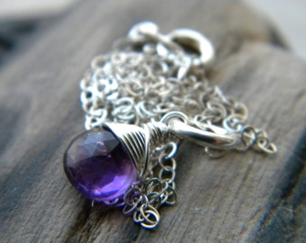 Amethyst jewelry - Spring fashion - Purple faceted briolette necklace - February birthstone - bright sterling silver handmade jewelry
