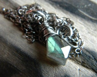 Oxidized sterling silver blue flash labradorite solitaire necklace - wire wrapped handmade jewelry
