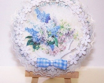ON SALE Wall Plaque, Wall Decor, Home Decor, Pink, Blue, Teacup, Saucer, Floral, Flowers, Shabby Chic, Country Chic, Gift for Her, Gift for