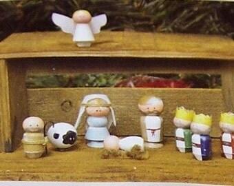 Nativity, Wooden Peg People, Wood Craft, Unfinished Wood, Peg Dolls, Craft Supplies, Free Shipping, Christmas, DIY Peg Dolls, Toys, Dolls,