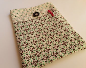 """Fabric Tablet Sleeve, iPad Case, Size 10.5"""" x 8"""", Quilted Tablet Cover, Tablet Case, OOAK, Ready to Ship, Quiltsy Handmade"""