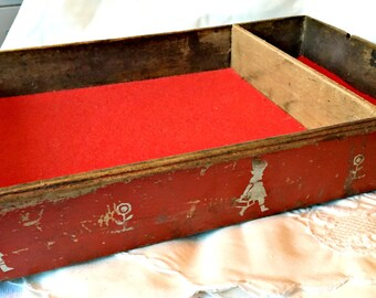 Vintage utensil drawer/box, 1940's painted box, dovetailed drawer, child's storage box, primitive container, artists storage, display box