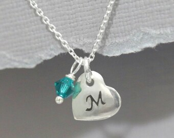 Sterling Silver Initial Heart Necklace with Birthstone Crystals, Birthstone Necklace, Flower Girl Necklace, Valentines Gift for Her