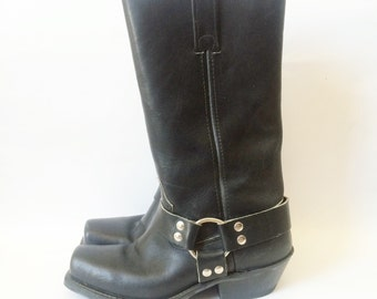 Vintage 80s Black Leather Moto Harness Tall Boots 7