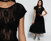 Sheer Backless Dress Lace Party 80s Midi Boho Black LACE BOHEMIAN Goth Open Back Mesh Vintage Gothic Cap Sleeve Witch Large xl