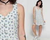 White Floral Dress Grunge Mini 90s Ditsy Print Revival 1990s Blue Corset Back Lace Up Vintage Summer Boho Sundress Button Up Medium Large