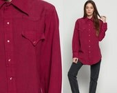 Western Shirt 70s PEARL SNAP Pocket Hipster Top 1970s Vintage Button Up Yoke Long Sleeve Blouse Rockabilly Burgundy Red Plain extra large xl