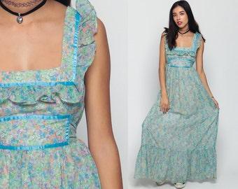 70s Maxi Dress Boho Floral Print PRAIRIE Ruffle Sundress 1970s Hippie Bohemian Empire Waist Blue Festival Vintage Sun Tiered Small