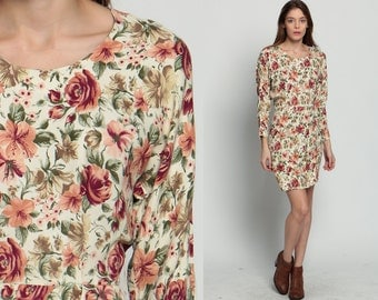 Floral Mini Dress 80s Boho Blouson BUTTON BACK Dolman Sleeve 1980s High Waisted Slouchy Wiggle Pencil Grunge Minidress Extra Small Xs