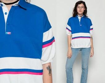 Polo Shirt JORDACHE SPORT Shirt 80s Striped Retro Half Button Up Collared Tshirt Color Block White Pink Blue T Shirt 1980s Vintage Large