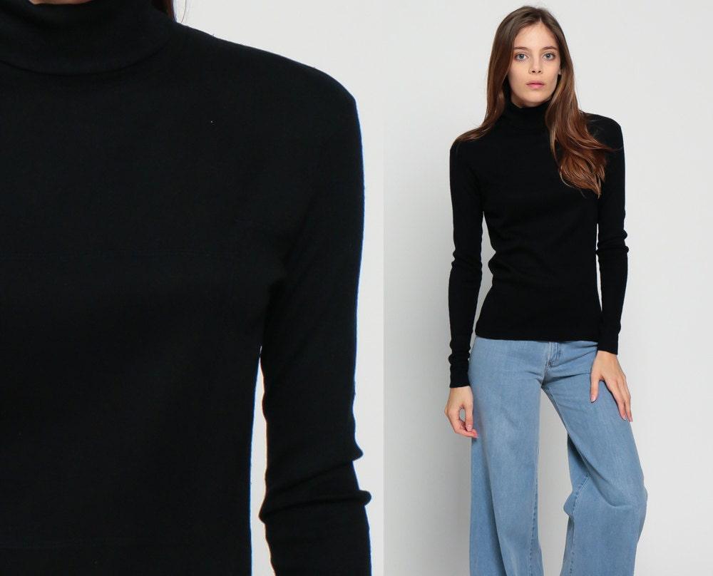 Black shirt turtleneck top 80s long sleeve plain grunge 1980s for Long sleeve black turtleneck shirt