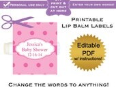 DIY printable lip balm labels editable (No.26) pink polka dot baby shower favors or bridal or wedding PDF Digital File