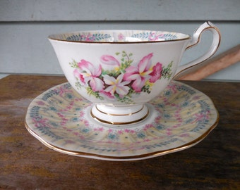 Queen Anne China Royal Bridal Gown Cup & Saucer w Flowers and Bows