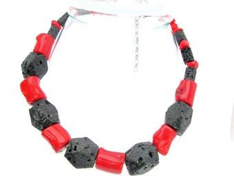 Coral chunks and lava hunks necklace