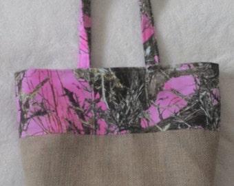 BEACH BAG,Purse, Market Tote Monogram Pink Camo Burlap
