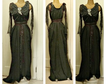 LAST ONE Dark Brew Maxi Dress Custom Black Gothic Scary Day of The Dead Womens Halloween Costume Up thru Plus sizes Witch