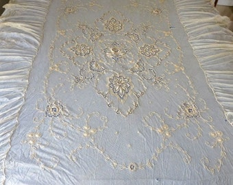 1920s Antique Tambour Lace Narrow Bed Or Day Bed Coverlet Gorgeous Embroidery