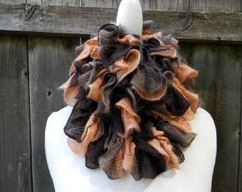 Long Ruffled Scarf Scarflette Handknit Ruffled Scarf Women Neckwarmer Spiral Scarf Lightweight Scarf Neutral Color