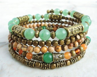 Memory Wire Bracelet, Earthy Gemstone Beaded Bangle Wrap Around, Aventurine, Amber, Brass, Green Orange, Boho Gypsy