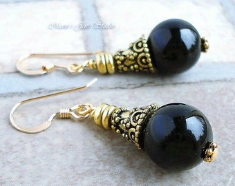 Black Onyx Gemstone Earrings with 14K gold filled Earwires, Antiqued Brass, Handcrafted