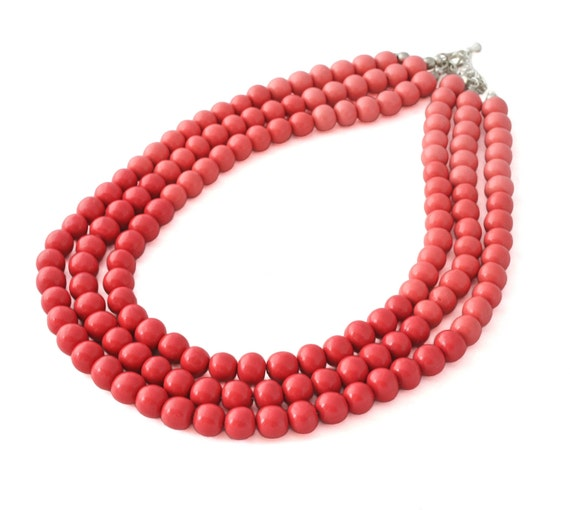 Coral Statement Necklace - Multi Strand Beaded Necklace - Colorful Jewelry - Chunky Bead Necklace - Polymer Clay Jewelry - Gifts for Her