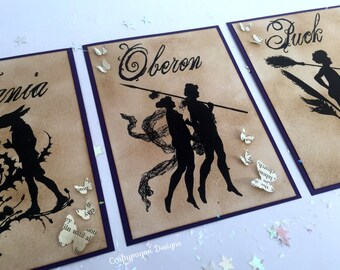12 Custom Watercolour Midsummer Night's Dream Table Cards/ Fairytale Wedding Table Numbers/ Shakespeare Character Vintage Style Card