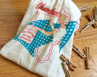 Vintage 1950s Champion Clothespin Bag with Pins / Retro Mid Century, Suzy Homemaker, Laundry Storage