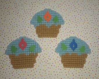 3 Handmade Trees  and Ornament  Cupcake Magnets