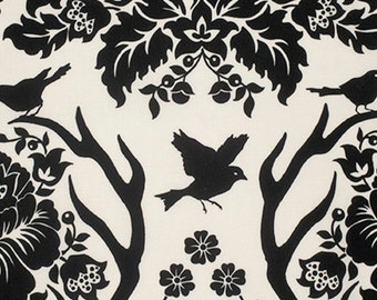1 Yard Home Decor Free Spirit Joel Dewberry - BIRCH FARM- Deer Antler DAMASK-Black SAJD025