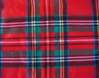 Tartan Plaid Polyester Minky Fabric 22 x 44 Inches Remnant