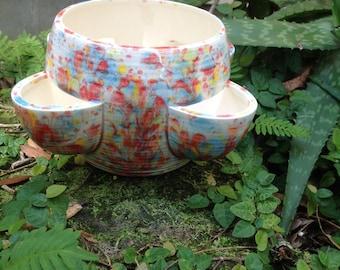 Planter, strawberry pot, ceramic, bright, aqua, red, yellow, white, Herb planter