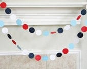 Paper Garland, Red White Navy Light Blue, Veterans Day Party Decor, Little Slugger, Baseball Birthday Party, Sailor Baby Shower Decorations