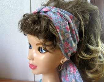 Women Hair BANDANA, Floral Blues Hair Scarf, Turban Cotton Head Scarf, Double Wrap Hairband, Bow Bandana, Pinup Band, Head Scarves #203