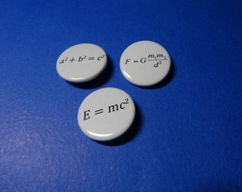 Famous Math and Science Formulas Pinback Buttons (or Magnets)
