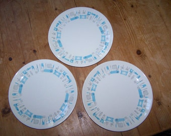BLUE HEAVEN, Royal China Plate, Dinner Plate, Set of 3, Mid Century Modern, Atomic Design, Blue Heaven China, Turquoise Gray Grey, Eames,