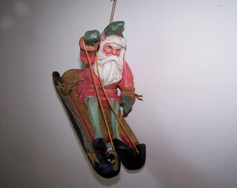 Santa on Sled, House of Hatten, Santa Claus, Good Cheer Sled, Denise Calla, Saint Nick, Christmas Ornament, Santa on Sleigh, Vintage