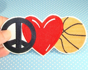 2 Basketball Patches Peace Love Heart Embroidered Patch Applique Vintage - Iron On or Glue On - Sports Teams Summer Camp March Madness Lover