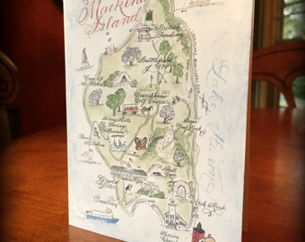 Hand-painted Watercolor Mackinac Island Map, Luxury Print in 5 x 7, 8 x 10 or 11 x 14 for framing
