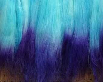 Combed Suri Alpaca Doll Hair 9/10ths of an ounce 9-10 inches long Light Blue Aqua and Purple Ombre