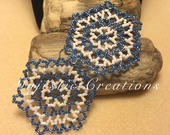 Blue and white Snowflake Earrings- Blue Beaded Earrrings- White Beaded Earrings