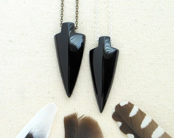 Black onyx arrowhead necklace mens necklace hippie jewelry boho jewelry crystal necklace onyx necklace arrowhead jewelry