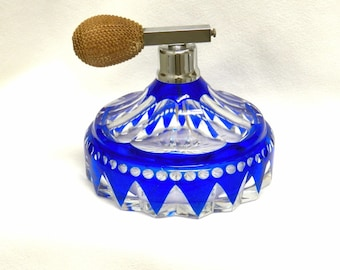 Atomizer Perfume Bottle Czech Bohemian Cut to Clear