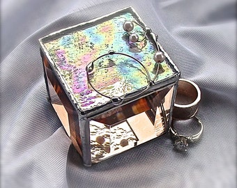 Peachy iridescent  ring box