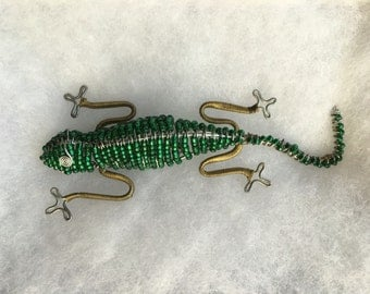 Vintage Large Green Beaded Lizard Pin