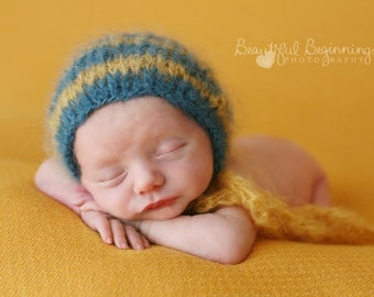 Mohair Newborn Photo Prop Baby Boy Striped Cap Blue Yellow Going Home Bonnet Organic Feather Girl Infant Hand Knit Coming Home Hat Gold Teal