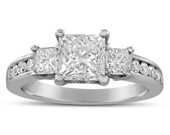 Princess Cut Three Stone Channel Set Diamond Engagement Ring