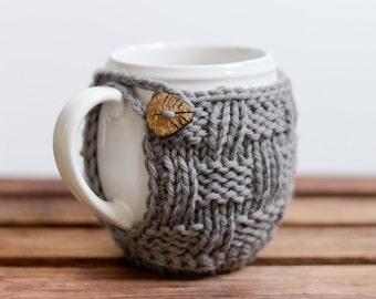 READY TO SHIP - Knitted Mug Cozy, Coffee Cozy, Mug Coaster, Knit Cup Cozy - Pinesap Mug Cozy (Gray)