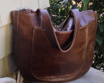 URSULA Leather Tote - Oversized Leather Tote - Day Trip Bag - Carry on Bag - Work Bag - Office Bag - Laptop Bag